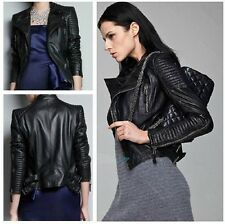 Women's 100% Sheepskin Leather Shoulder Pads Quilted Motorcycle Coat Jacket NEW