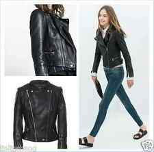 Women's Shoulder Pads 100% Sheepskin Leather Biker Dual zipper Jacket Coat DH6