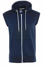 New Men's Boys Plain Zipper Fleece Sleeveless Hoodies Sweatshirt Gilet Hoodie