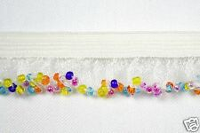 "1"" Elastic Ruffle Beaded Fringe Trim Orange Blue Yellow Purple Glass Bugle Beads"