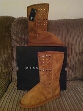 Brand New Ladies Girls Choose Size Miss Fiori Brown Boots Studded