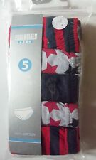 Boys 5 Pack Red Grey and Navy Blue Briefs with Stars / Stripes detail