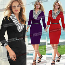 Womens Belted Striped Office Cocktail Party Tunic Pencil Shift Shirt Dress 599