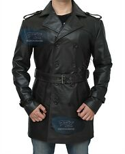 Sweeney Todd Vintage Brown Leather Jacket Victorian Double Breasted Long Peacoat