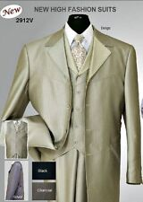 Mens 4 button Shark Skin Wool Feel Zoot Suit with Fancy Vest ,Waist Band 2912V