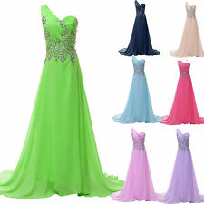 Sexy Long One Shoulder Evening Party Formal Cocktail Prom Dress Wedding Gown JS
