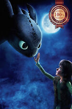 NEW HOW TO TRAIN YOUR DRAGON HICCUP TOOTHLESS MOON WALL ART PRINT PREMIUM POSTER