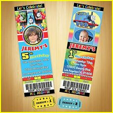 12 Printed Custom photo THOMAS TRAIN birthday Ticket Invitations card W/Envel