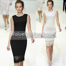 Womens Elegant Lace Crochet Bodycon Sheath Party Evening Career Pencil Dress 460