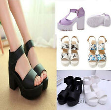 Fashion Summer Woman Block Heel Creeper Sandals Velcro Ankle High Platform Shoes