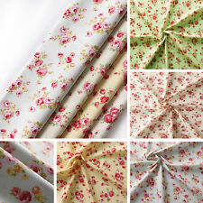 Floral Rose Fabric 100% Cotton Material Vintage Shabby Chic Craft Quilting Metre