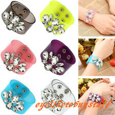 Women Resin Clear Crystal Flower Gem Film Bracelet Bangle Cuff Wristband