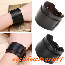 Punk Genuine Leather Belt Buckle Wide Bracelet Wristband Bangle Cuff Unisex