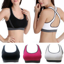 Lady Fitness Stretch Workout Tank Top Seamless Racerback Padded Sport Bra White