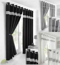 Faux Silk Contemporary Eyelet Ring Top Curtains Range Of Colours & Sizes New