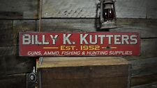 Custom Guns, Ammo & Fishing Sign - Rustic Hand Made Vintage Wood Sign ENS1000448