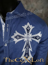 Mens VICTORIOUS Shirt Imperial Crosses in BLUE Button Down ROAR with Class