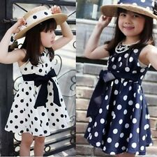 Baby Girls Polka Dot Chiffion Sundress Toddler Kids One-piece Bowknot Belt Dress