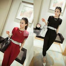 Women's Chiffon Short Sleeve Jumpsuit Elasticity Waist Belt Long Pants Romper
