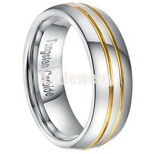 NEW 7mm Tungsten Carbide Mens Gold PL Groove Mens Wedding Band Ring SIZE 8-13