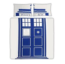 DR DOCTOR WHO TARDIS BLUE WHITE POLICE PHONE BOX SINGLE OR DOUBLE BED BEDDING