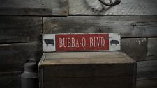 Custom BBQ Blvd Cow & Pig Sign - Rustic Hand Made Vintage Wooden ENS1000495
