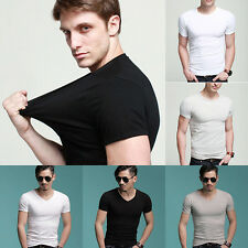 Fashion Men Short Sleeve Solid T-Shirt Casual Basic Stretchy Slim Blouse Tops