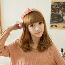 New Womens Medium Long Wavy Curly Hair Full Bangs Synthetic Cosplay Party Wig