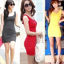 New Fashion Women Solid Color Stretch Vest Casual Mini Dress Bottoming Sundress