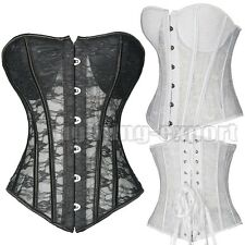 Ladies Wedding Bridal Chest Padded Overbust Boned Lace Up Corset G-string AU