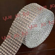 "1.55""X30FT Silver DIAMOND MESH WRAP ROLL SPARKLE RHINESTONE Crystal Ribbon decor"