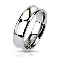 316L Stainless Steel 6mm Polished Concaved Surface Wedding Band Ring, Sizes 5-13
