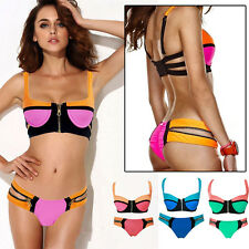 Women Retro Push-up Padded Bra Zipper Novelty Bikini Swimsuit Beachwear Swimwear