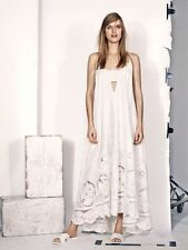 H&M Trend New Romance Cream Floral Lace Embroidered Cotton Maxi Dress 8 10 12 16