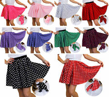 SHORT POLKA DOT SKIRT & SCARF ADULT ROCK AND ROLL 1950'S FANCY DRESS COSTUME