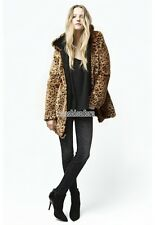 NWT Ladies Leopard Faux Fur WOOL HOODED Blazer Long Jacket coat Outerwear