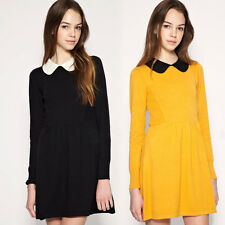 Slim Womens Long Sleeves Pleated Peter Pan Contrast Collar Dress Yellow&Black
