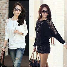 Fashion Women's Ladies Long Sleeve Casual Dolman Lace Loose T-Shirt Batwing Tops