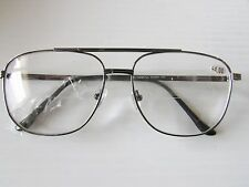 4 Aviator READING GLASSES SMART STYLE READER Silver tone frame Clear Bifocal