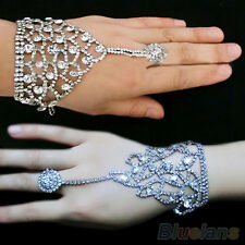 Womens Wedding Crystal Hand Harness Slave Chain Ring Cuff Bracelet Party Jewelry