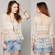 New Women Ladies Floral Loose Crochet Sleeve Lace Sexy Tee Top Shirt Blouse