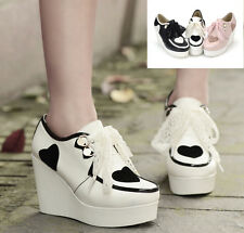 NEW women lace Up Heart-shaped metal buckle platform high wedge heels lace shoes