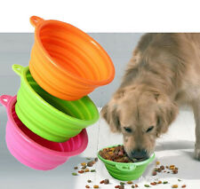New Lovely Cute Foldable Dog Feeding Water Food PC Bowl Park Traveling Training