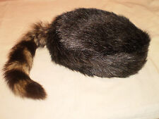 Crockett Coonskin Caps in S, M, L, XL - w/Genuine Tail