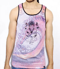 Men Tank Top All Over Multi Color Unique Design Surf Swimming Hand Elephant New