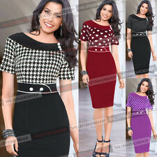 Elegant Pinup OL Polka Dot Work Evening Party Cocktail bodycon pencil Dress 917
