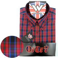 Warrior OiOi7 Short Sleeve Button Down Shirt CONNERY Mod Skinhead Red Green Blue