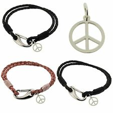 925 Sterling Silver CND PEACE Pendant Charm & Leather Bracelet By EDWARD JONES