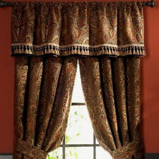 CHRIS MADDEN PALME CHENILLE BRONZE BROWN SPICE PAISLEY FRINGED TAILORED VALANCE