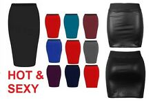 WOMEN LADIES PLAIN JERSEY BODYCON STRETCH SHORT MINI OFFICE PENCIL SKIRT 8-24 SW